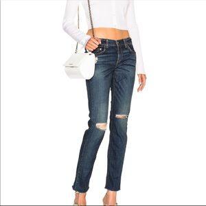 Rag n Bone Skinny Raw Hem Knee Slit Jeans sz 26